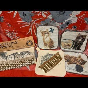 Vintage kitten and cat kitchen apron & potholders
